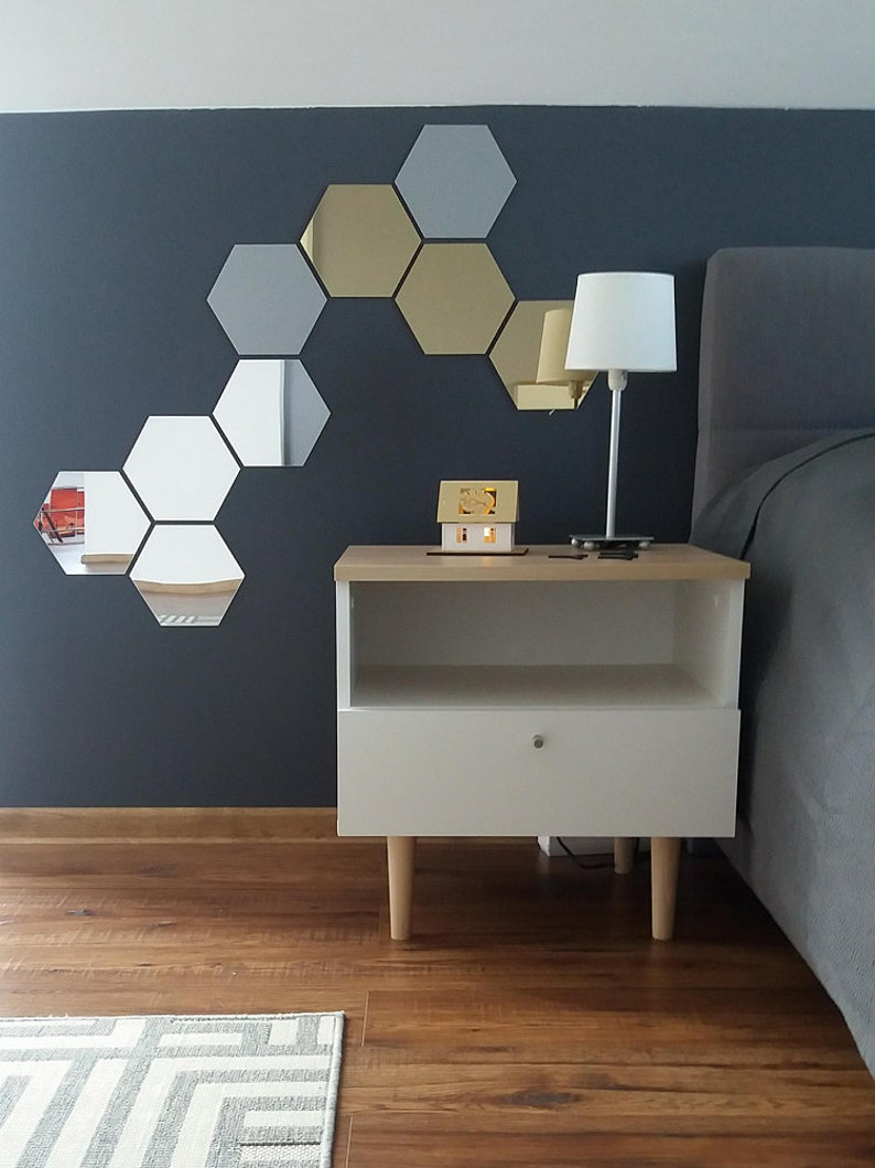 Hexagon Shape Mirror Gold Silver Brown Wall Decal Wall Sticker image 0