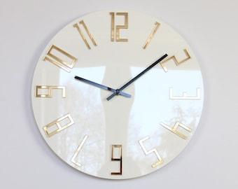 large wall clock, Mirror gold,  wall clock, gift, wall decor, Modern clock, modern wall clock, Unique wall clocks, gift