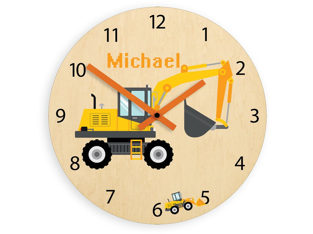 Kids Wall Clock Excavator With Personalizen Name Wood Clock