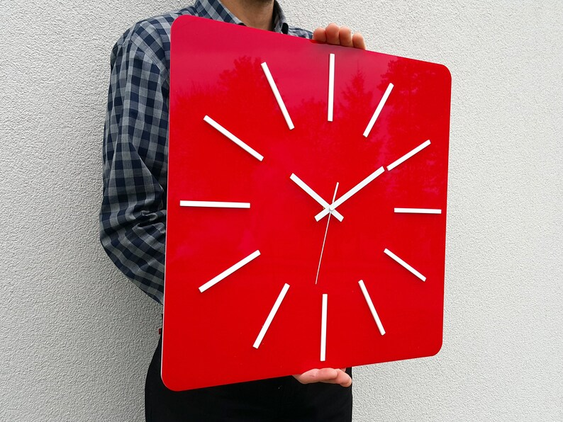 Horloge murale HIPNOTIC Grande horloge silencieuse rouge 49cm / 19,29