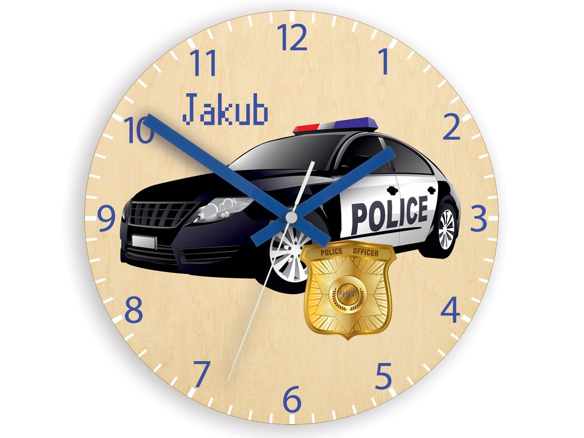 Kids wall clock - police car with personalizen name, Wood clock ...
