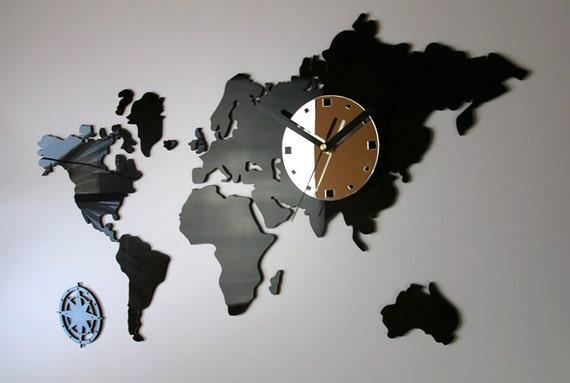 Clock World Map.Wall Clock World Maps Modern Clock Gift Large Wall Clock Etsy
