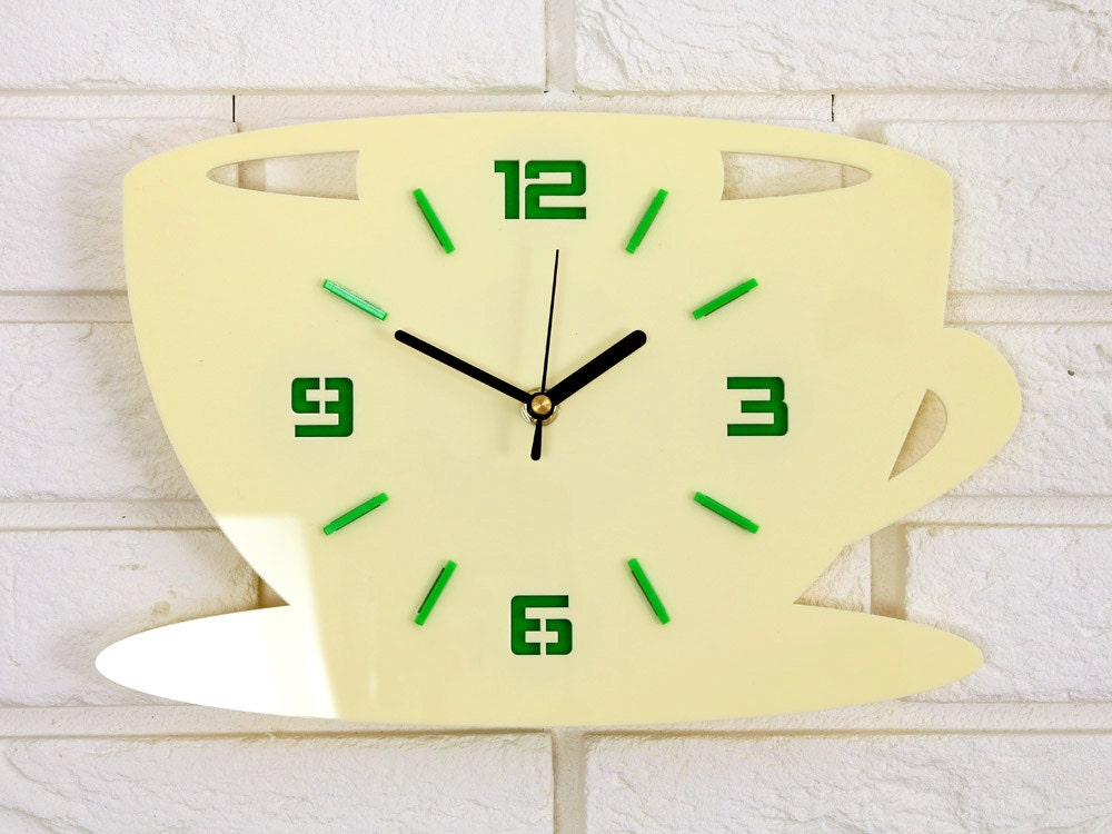 Clock To Kitchen Wall Coffe Time Modern Gift Decoration Cup Decor Large Decal Stickers