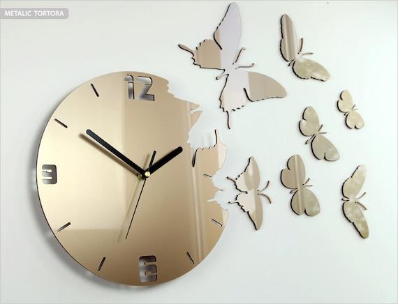 Parete orologio farfalla tortora metallizzato orologio etsy for Orologio da muro farfalle