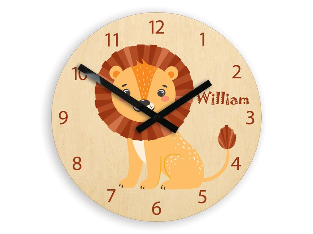 Kids Wall Clock Lion With Personalizen Name Childrens Wall Clock
