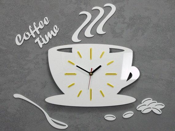 Orologio per orologio da parete cucina Coffe tempo moderno regalo  decorazione Coppa parete gialla arredamento parete grande orologio da  parete muro ...