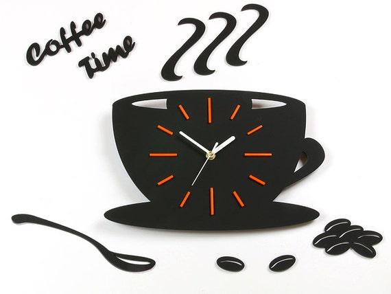 Reloj de pared reloj cocina satinado taza naranja reloj   Etsy