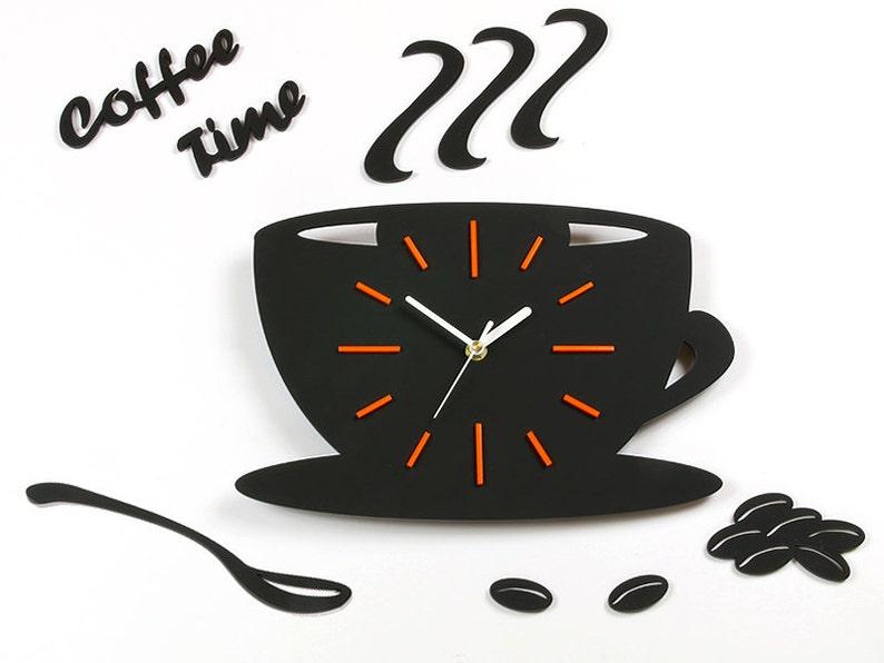 Reloj de pared reloj cocina satinado taza naranja reloj | Etsy