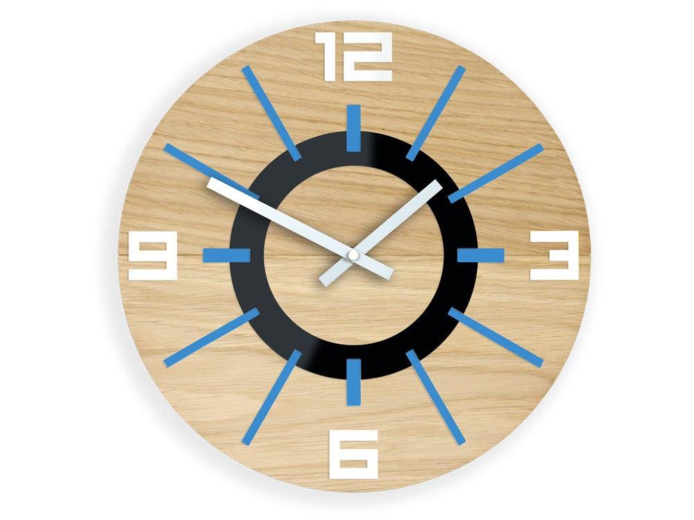 Large Wood Wall clock, OAK, 13,19inch, gift, Unique wall clock, Blue ...