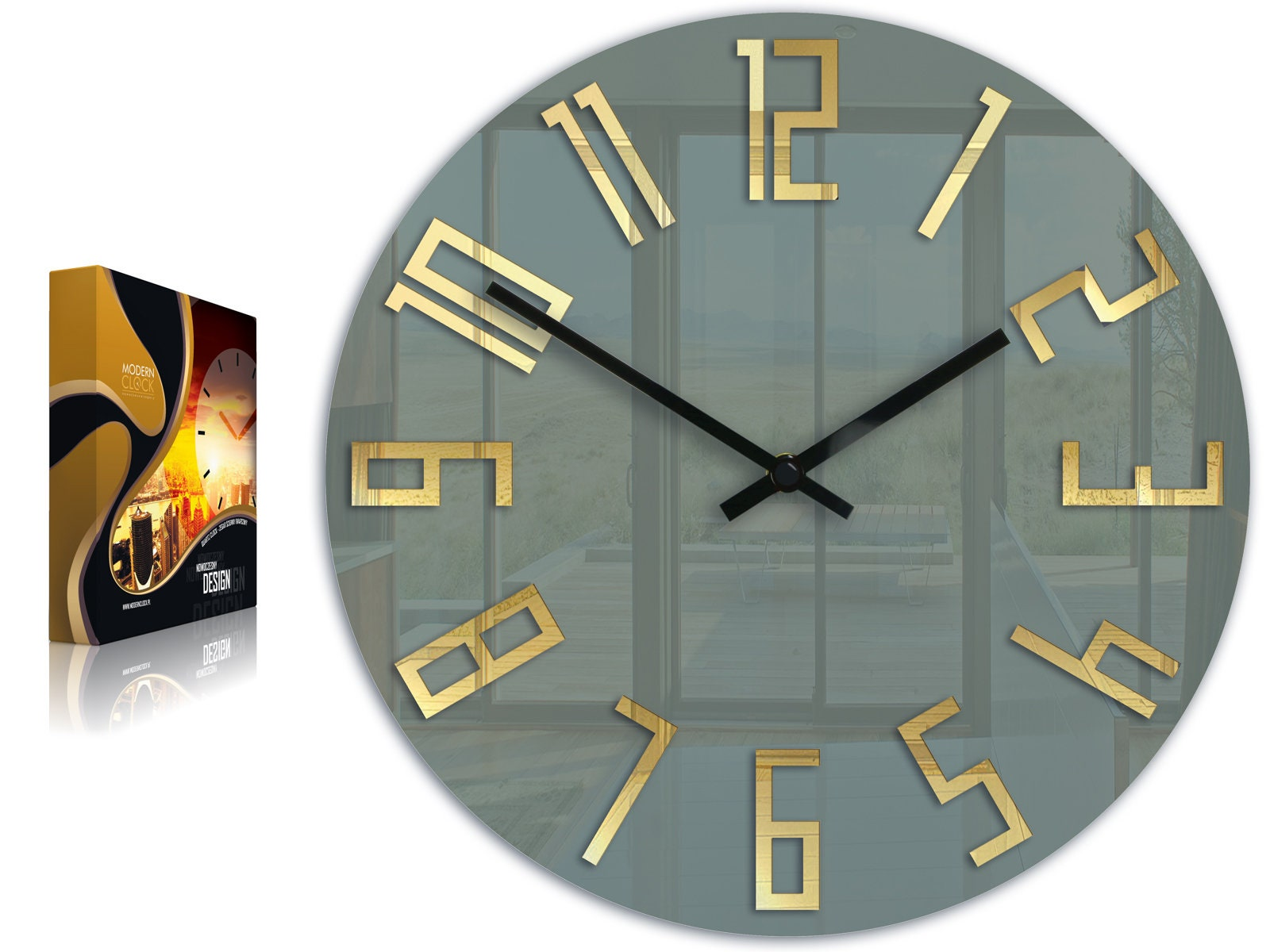 Large Wall Clock Mirror Gold Gray Clock Wall Clock Gift Wall Decor Modern Clock Modern Wall Clock Unique Wall Clocks Gift