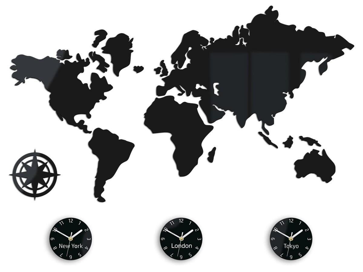 Clock World Map.Large Wall Clock Time Zones New York London Tokyo World Clock