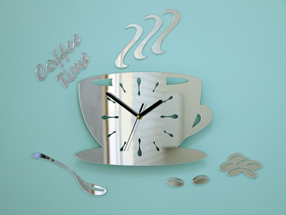. Silver Mirror Large wall clock to kitchen watch modern clock gift