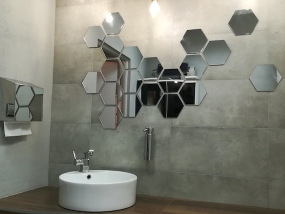 Hexagon Shape Mirror Wall Decal Wall Sticker 3 pcs SILVER