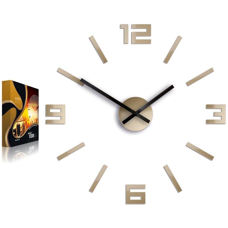Horloge murale arabe Tortora- grande horloge murale, horloge moderne, autocollant mural, autocollant mural, miroir de forme 50cm / 19,70