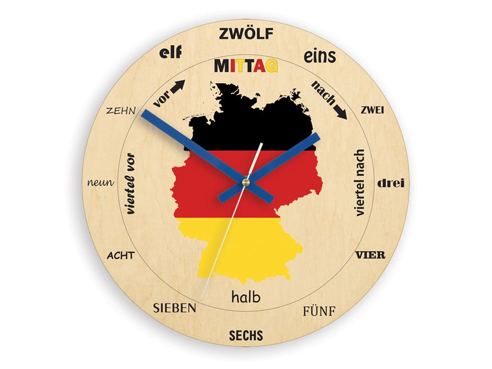Clock For Learning German German Map Wooden Clock Clock For A