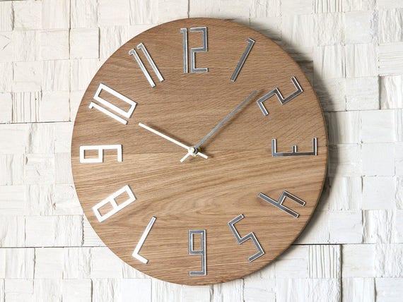 Wanduhr Holz Uhr Grosse Wanduhr Geschenk Dekor Einzigartige Etsy