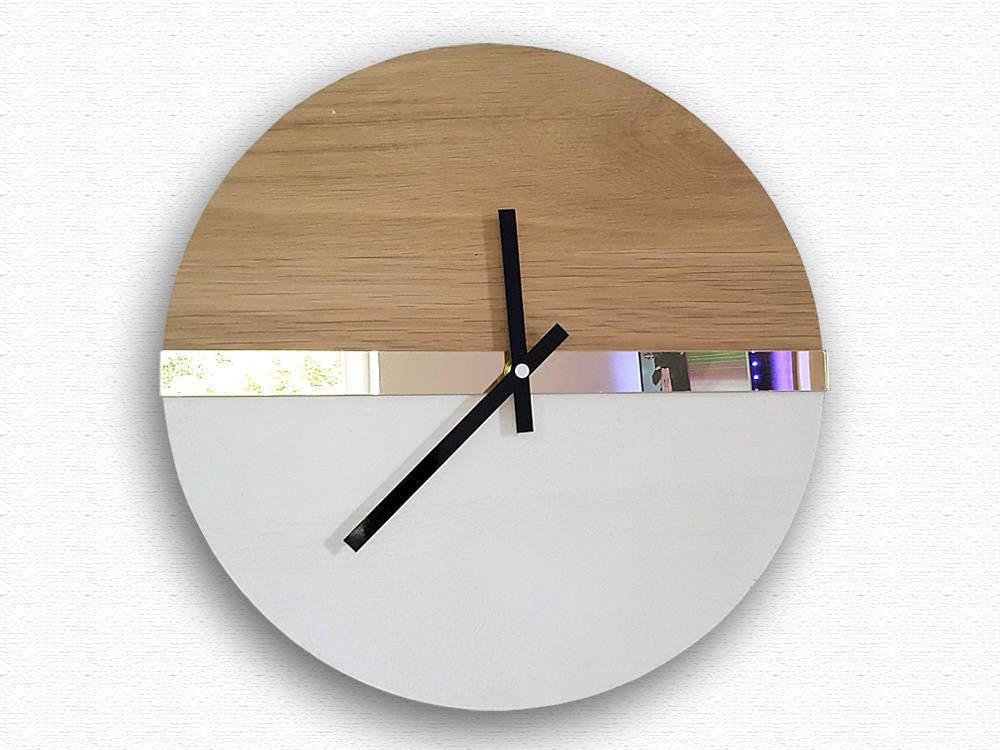 Large Wall Clock Mirror Gold 100 Natural Wood Wood Wall Clock
