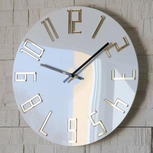 Large Wall Clock Mirror Gold Wall Clock Gift Wall Decor Etsy