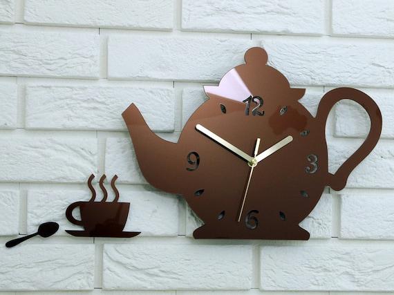 Pared reloj cocina reloj tetera cobre metálico moderno reloj | Etsy