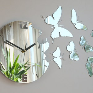 Wall Clock Mirror Butterfly Large Wall Clock Gift Wall Decor Etsy