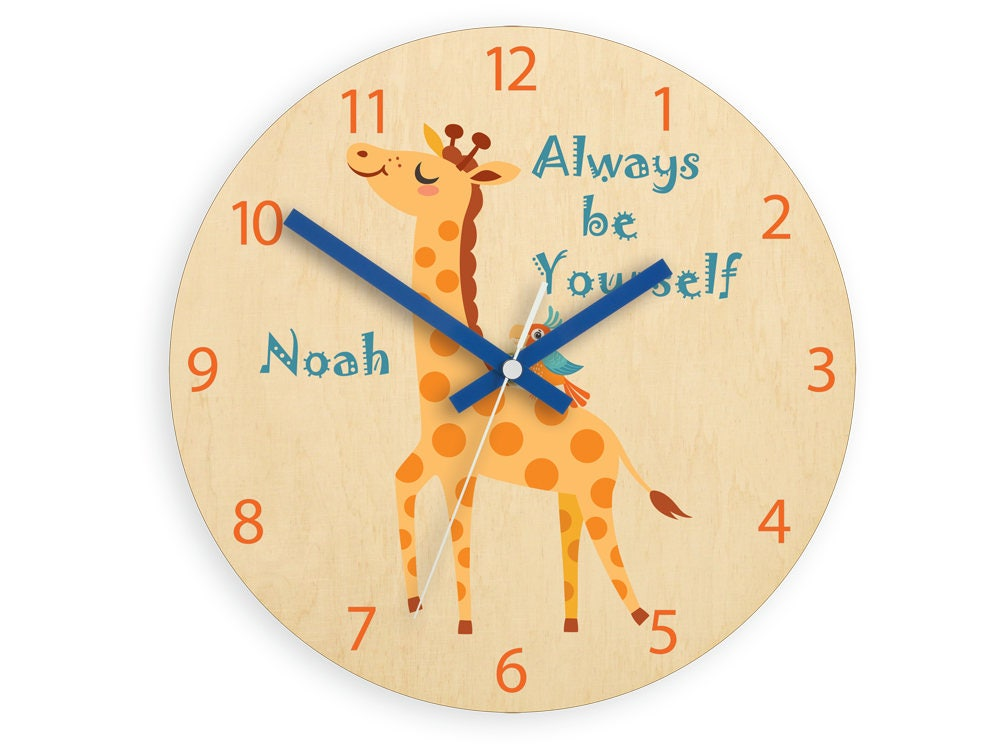 Kids Wall Clock Giraffe With Personalizen Name Wood Clock