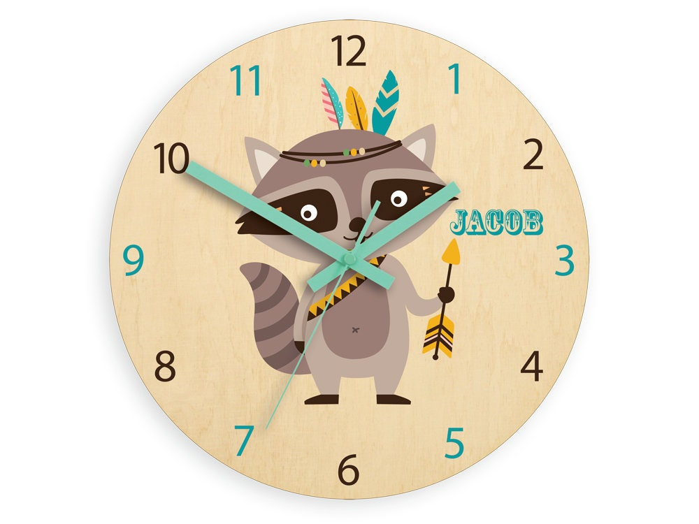 Kids Wall Clock Raccoon With Personalizen Name Wood Clock Large