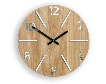 Wood clock, large wall clock, Wall Clock, Aksel white, gift, wall decor, Unique wall, OAK, clocks, Mirror White