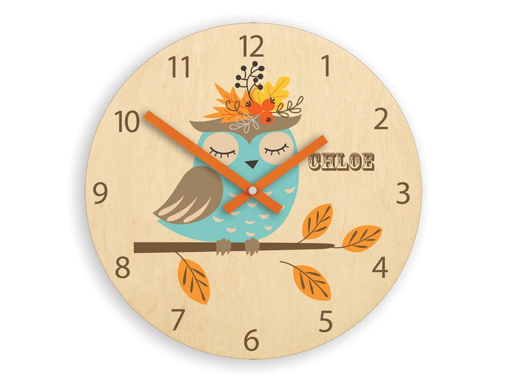 Kids Wall Clock Owl With Personalizen Name Wood Clock Childrens