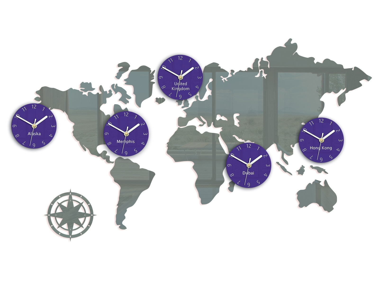 Large clock - Gray world map with 5 time zones: Hong Kong ... on afghanistan time zone, west coast time zone, panama time zone, cuba time zone, east caribbean time zone, ecuador time zone, fiji time zone, oceania time zone, new zealand time zone, norfolk island time zone, indonesia time zone, aleutian time zone, saskatchewan time zone, pacific ocean time zone, georgia time zone, faroe islands time zone, monaco time zone, alaska time zone, portugal time zone, belize time zone,