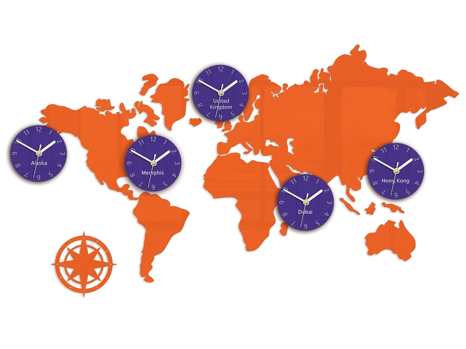 Map Of Uk Time Zones.Large Clock Orange World Map With 5 Time Zones Hong Kong Alaska