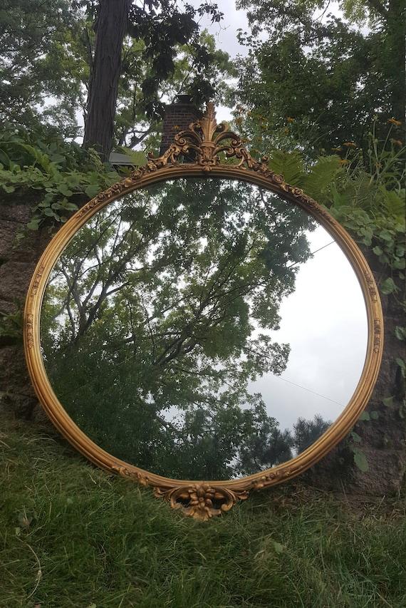 Vintage Round Gold Mirror Vintage Mirror Antique Mirror Etsy