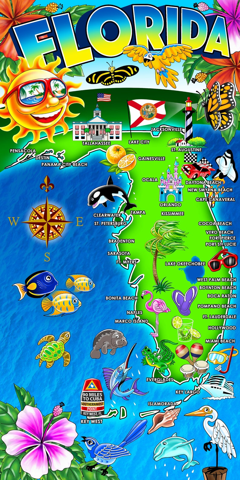 Hot Florida Map Beach Towel Etsy