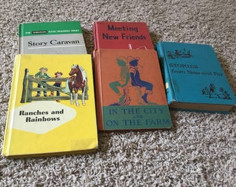 "Lot of 5 Antique Vintage School Textbooks Basal Readers 1940-1959 ""Stories From Near & Far"" "" Meeting New Friends"" ""Story Caravan"""