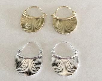 Cleopatra brass or silver hoop earrings
