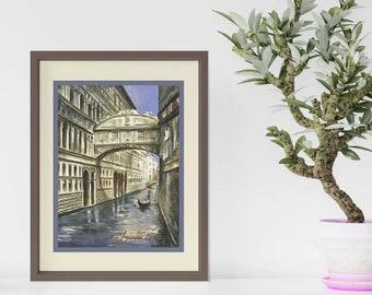 Venice Bridge Of Sighs Watercolor Painting Giclée