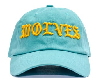 Kanye West Wolves Dad Hat - Teal in Twilled Cotton