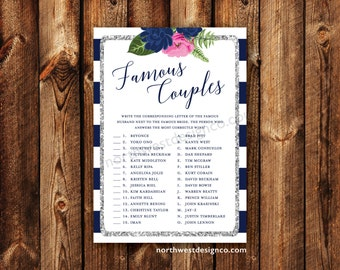 digital pink navy silver famous couples bridal shower game celebrity matching name game silver bling printable wedding shower game card