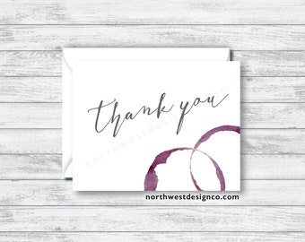 Set of Wine Ring Thank You Cards - Gray and Maroon Script Printed Bridal Shower Thank You Cards - Wedding Thank You