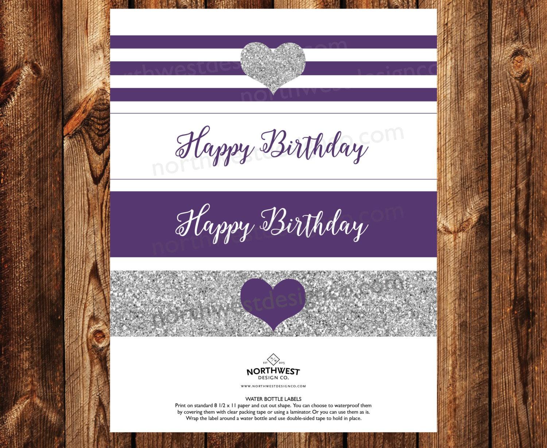digital purple silver happy birthday printable water bottle etsy