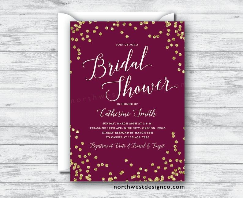 9f31d62de81e Maroon and Gold Bridal Shower Invitation 5x7 Digital File or