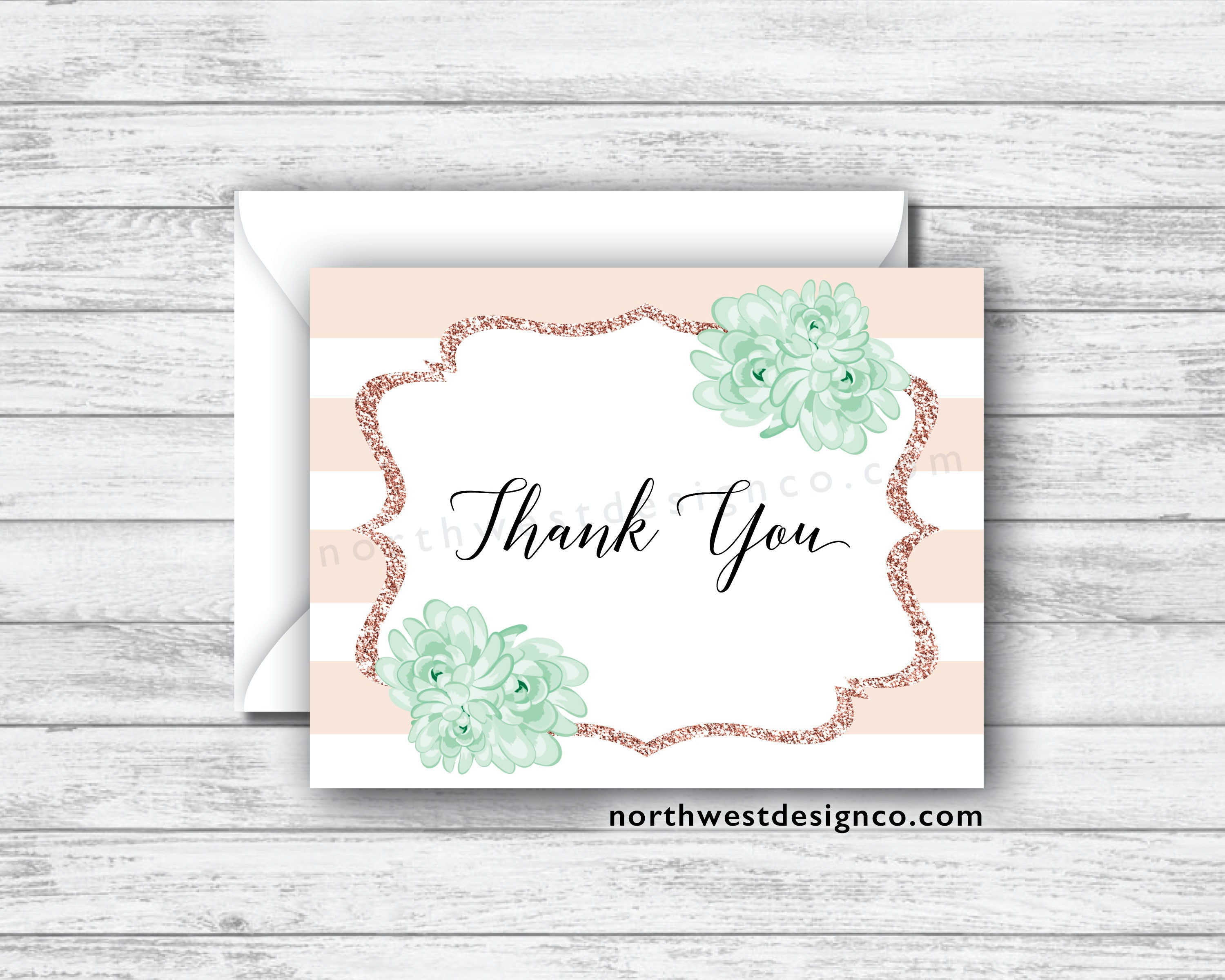 Set Of Printed Peach And Mint Floral Thank You Cards Rose Etsy