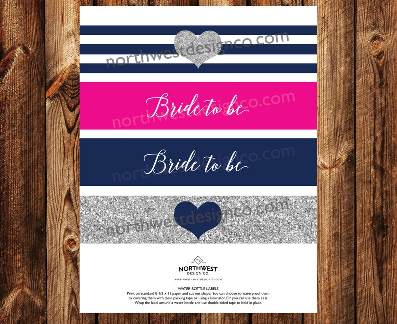DIGITAL Pink Navy Silver Bride to Be Bunting Banners Silver Bridal Shower Printables Pink Bridal Shower Decoration Blue Wedding Shower