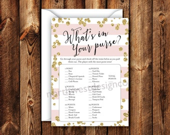 DIGITAL - What's in Your Purse Bridal Shower Game Pink Stripe Gold Bling Printable Download Wedding Shower Game Card For the Bride