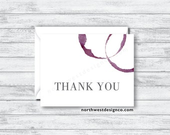 Set of Wine Ring Thank You Cards - Gray and Maroon Serif Printed Bridal Shower Thank You Cards - Wedding Thank You