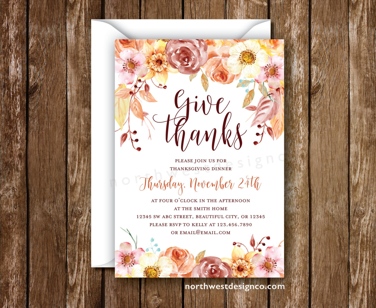 Thanksgiving Invitation Give Thanks Rustic Floral Thanksgiving Etsy