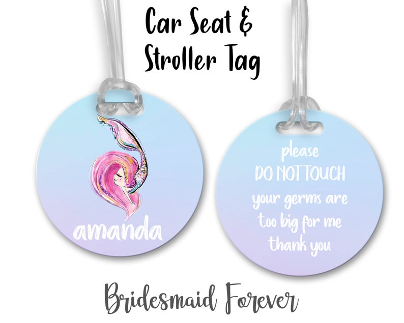 Baby Gift Mermaid Tag Custom Stroller Tag Stroller Tag Car Seat Tag Please Don/'t Touch Your Germs Are Too Big Newborn Gift .Baby