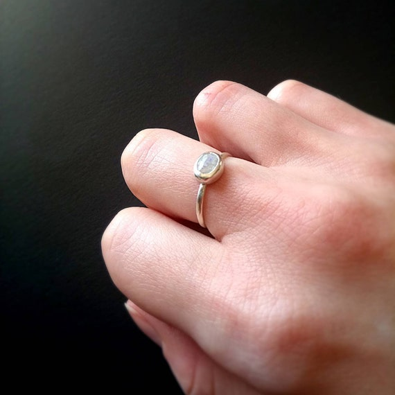 Slim Moonstone Eternity Stacking Sterling Silver Ring