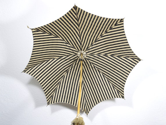 Parasol Umbrella Vintage Black & White Fabric Umbr