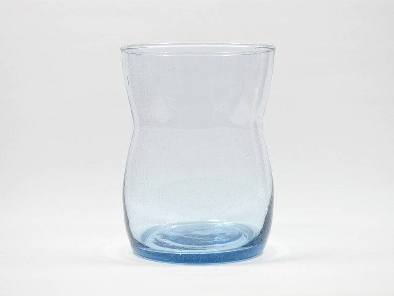 Blue Handcrafted Glass Vase Blown Glass with Handmade Hand Made Quality Bubbles