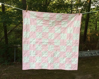 Handmade - Pink and White Baby Quilt - 31 x 31 Inches - New - BQ 110